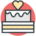 cake, dessert, happiness, heart sign, valentine day icon