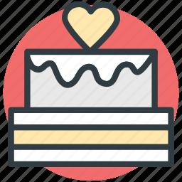 cake, dessert, happiness, heart sign, valentine day icon