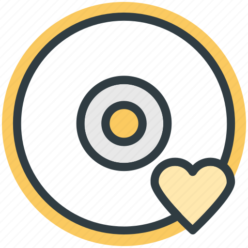 cd, compact disk, disk, dvd, heart sign icon