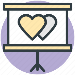 easel, hearts, like, love, relationship icon
