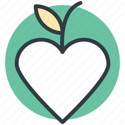 apple, fruit, heart shaped, love inspirations, love theme icon