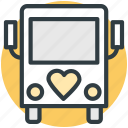 bus, heart sign, honeymoon, love theme, travel icon