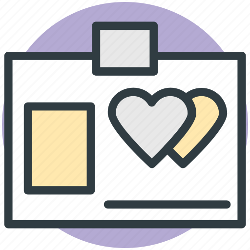 hearts sign, id card, infographic, love inspirations, love theme icon