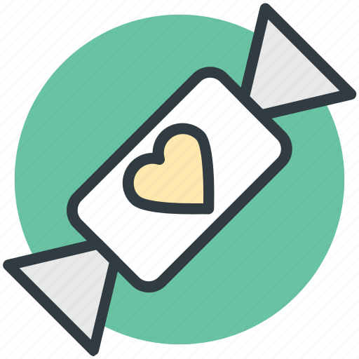 confectionery, heart sign, sweet, toffee, toffee candy icon