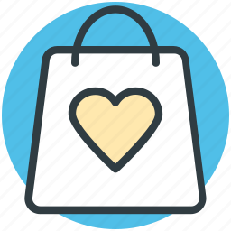 gift offer, heart sign, shopping bag, special offer, tote bag, valentine day, valentine gift icon