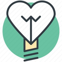 bulb, electricity, heart shaped, lightbulb, romantic theme icon