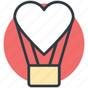 affection, fun, heart shaped balloon, hot air balloon, love theme icon