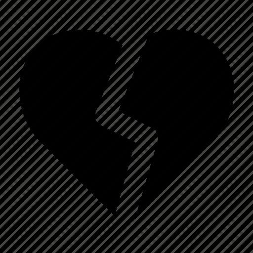 broken, broken heart, heart, love, romance, valentine icon