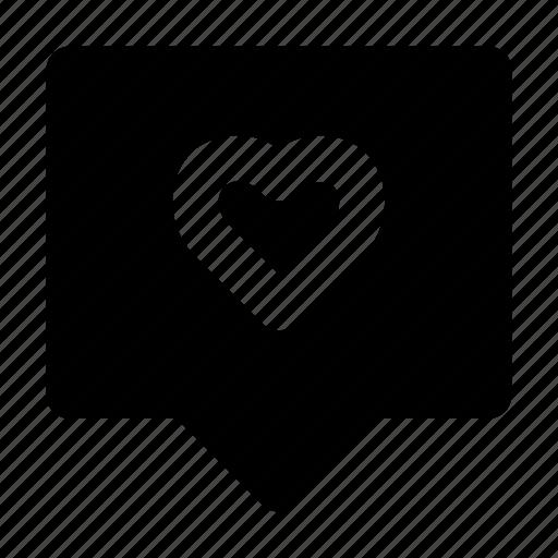 chat, heart, love, notification, romance, valentine icon