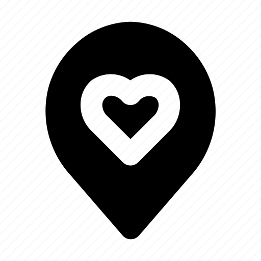 heart, location, love, map, pin, romance, valentine icon
