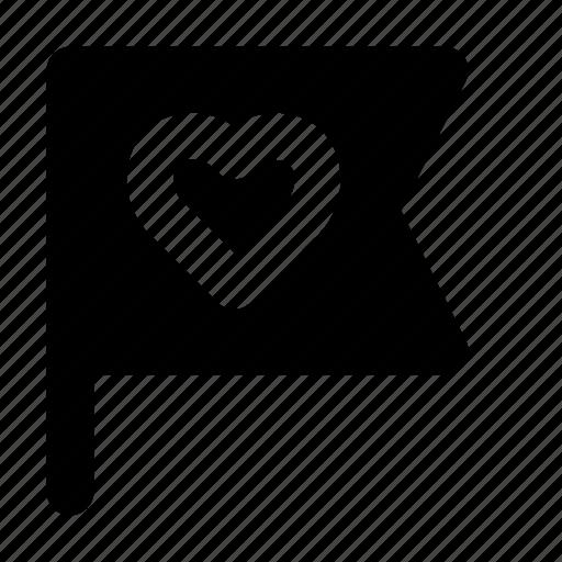 flag, heart, love, romance, valentine icon
