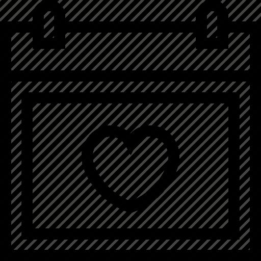 calendar, date, love, schedule, valentine, valentine's day, wedding day icon icon
