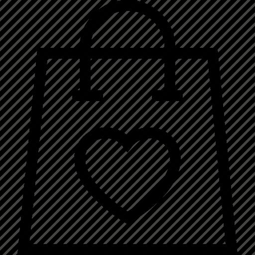 bag, favorite, heart, love, shopping icon icon