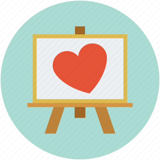 easel heart, easel with heart, heart on easel, love sign, romance icon