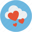 heart drops, heart falling from cloud, love is in air, rain of love, raining hearts icon
