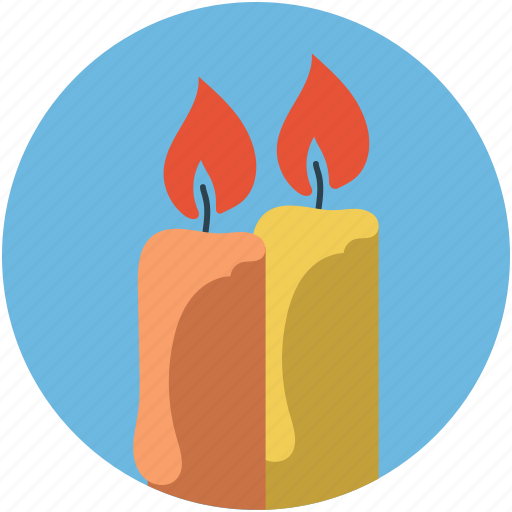 burning candles, candlelights, candles, decorative candles, two candles icon