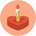 candle on heart, candle with heart, heart candle, love sign, romance concept icon