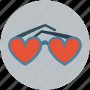 eyeglasses, eyeshade, eyewear, glasses, goggles, heart shaped
