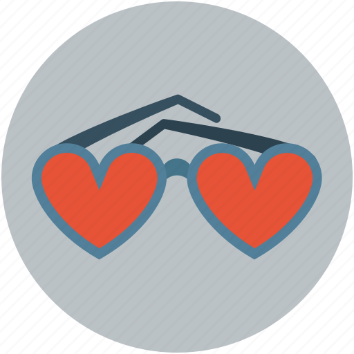 eyeglasses, eyeshade, eyewear, glasses, goggles, heart shaped icon
