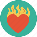 burning heart, fire heart, heart in fire, heart of fire, heart on fire, heart with fire icon