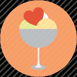 heart in icecream, heart on icecream, icecream with heart, love heart icecream icon