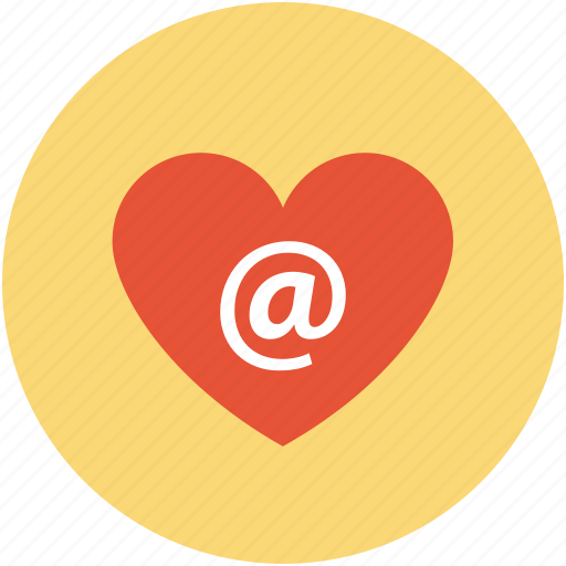 arroba in heart, internet dating, internet lover, love email concept, online romance icon