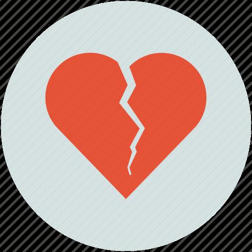 broken, broken heart, cracked, crushed, heart, shape of broken heart icon