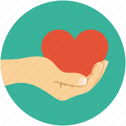 care sign, hand holding heart, heart on hand, love and care, love sign icon