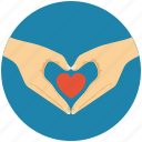 hand forming a heart, heart in hands, heart shaped hands, love concept, romance icon