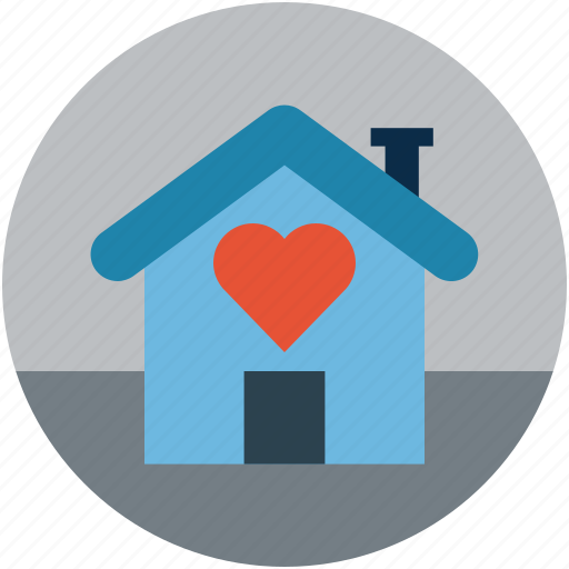 home with heart sign, house, house with heart sign, love home, lovers home icon