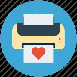 card printing, ecard, fax, print, printer, printing, valentine card icon