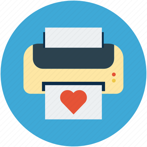 card printing, ecard, fax, print, printer, printing, valentine card icon