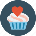 muffin with heart, dessert, cupcake, cupcake with heart, muffin