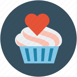 cupcake, cupcake with heart, dessert, muffin, muffin with heart icon