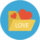 hearts in folder, internet romance, love concept, love folder, online romance icon