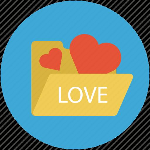 hearts in folder, internet romance, love concept, love folder, online romance icon