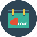 calendar, calendar with heart, date, dating, day, event icon