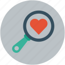 finding love, heart and magnifier, heart search, heart with magnifier, love search icon
