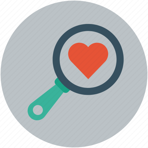 Heart with magnifier, heart and magnifier, heart search, finding love, love search icon