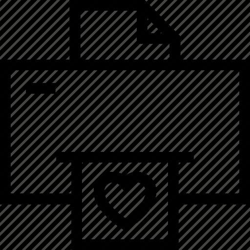 device, electronic, fax, hear, love letter, print, printer icon icon icon
