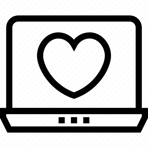 dating, heart, laptop, love, marriage, online icon icon
