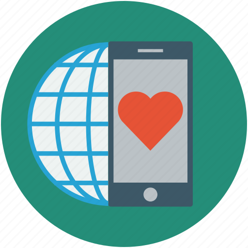 global love concept, globe, globe and mobile, love concept, mobile screen heart, online love concept icon