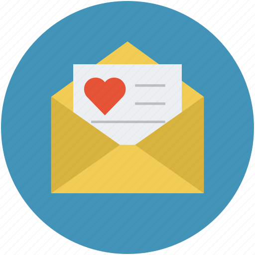 letter and heart, love correspondance, love letter, love mail, love mailing concept, valentine love letter icon