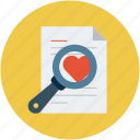 love letter and magnifier, magnifier on love letter, search, searching icon