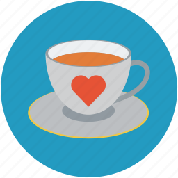 cup of tea and heart, love concept, romance, tea with love sign, teacup with heart icon
