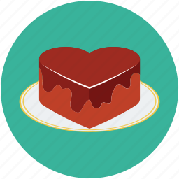 cake, chocolate cake, dessert, heart shaped cake, love sign icon