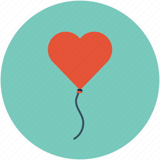 heart balloon, heart on thread, heart with thread, love concept, love sign icon