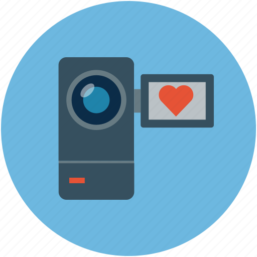 camcorder, camcorder with heart, heart on cam, video camera icon