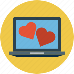 hearts on computer screen, internet, love hearts and laptop, online romance, screen hearts, two hearts on screen icon