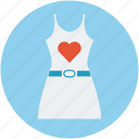 dress with heart, heart on dress, ladies dress, valentine day dress icon